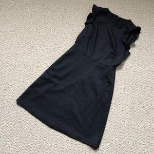 LOFT Grey Dress w Ruffled Sleeves